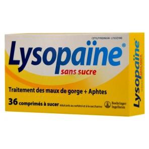 LYSOPAÏNE maux de gorge comprimé à sucer édulcoré au sorbitol et à la saccharine sans su