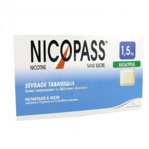 NICOPASS 1.5mg SANS SUCRE EUCALYPTUS pastille édulcorée à l'aspartam et à l'acésulfame potass