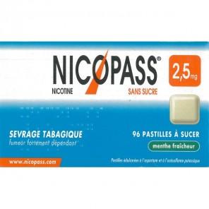 NICOPASS MENTHE FRAICHEUR 2.5mg SANS SUCRE pastille édulcorée à l'aspartam et à l'acésulfame