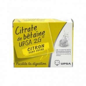 CITRATE DE BETAINE CITRON UPSA 2g SANS SUCRE comprimé effervescant édulcoré à la saccharine sodique