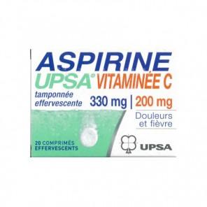 ASPIRINE UPSA VITAMINEE C TAMPONNEE EFFERVESCENTE 20 comprimés effervescents