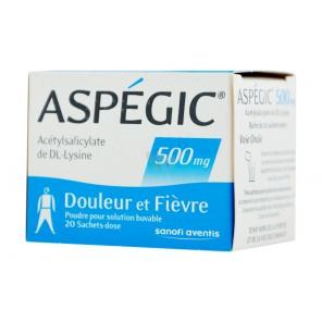 ASPEGIC 500 mg Poudre pour solution buvable en sachet-dose adulte B/20