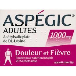 ASPEGIC 1000 mg Poudre pour solution buvable en sachet-dose adulte B/20