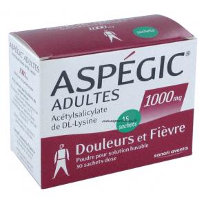 ASPEGIC 1000 mg Poudre pour solution buvable en sachet-dose adulte B/30