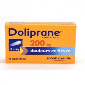 DOLIPRANE 200MG SUP 12 16KG 10