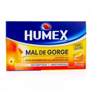 HUMEX MAL DE GORGE MIEL CITRON 20mg pastille
