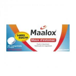 MAALOX MAUX D'ESTOMAC SANS SUCRE comprimé à croquer édulcoré à la saccharine sodique, au sorb